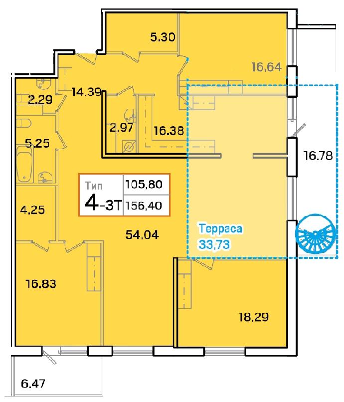 Планировка Четырёхкомнатная квартира площадью 156.5 кв.м в ЖК «Айно»